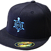 Blue Embroidered Turtle on Black FlexFit Hat