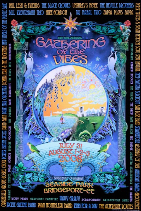 2008 event poster gathering of the vibes music festival for St bernadette craft show